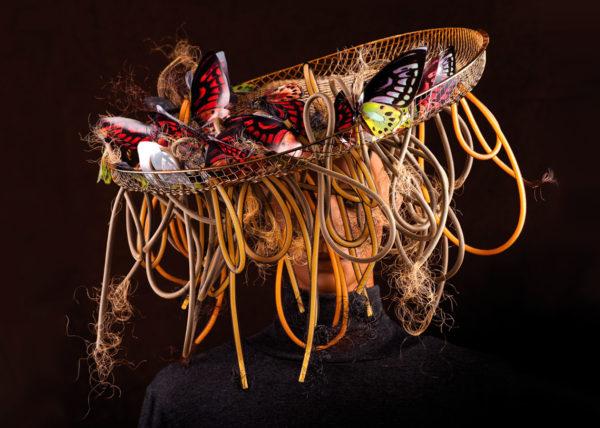 butterfly hat Agnes van Dijk fasionart, modekunst, modecapriole, fashion, mode, Eindhoven, the netherlands, nederland