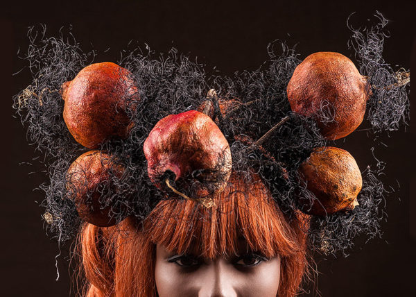 Pomegranate headpiece, Agnes van Dijk fasionart, modekunst, modecapriole, fashion, mode, Eindhoven, the netherlands, nederland