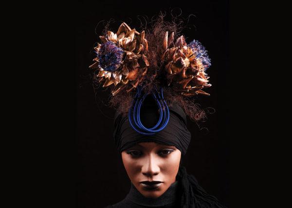 Artichoke headpiece, Agnes van Dijk fasionart, modekunst, modecapriole, fashion, mode, Eindhoven, the netherlands, nederland