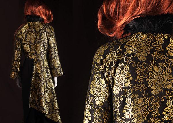 Gold & black Gobelin mantle Agnes van Dijk fasionart, modekunst, modecapriole, fashion, mode, Eindhoven, the netherlands, nederland