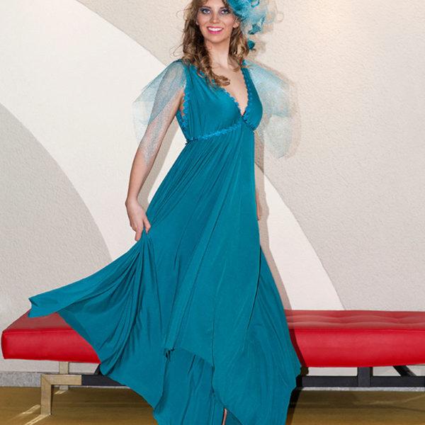 Agnes van Dijk fasionart, modekunst, Dress Vionnet turquoise, Eindhoven the netherlands, nederland