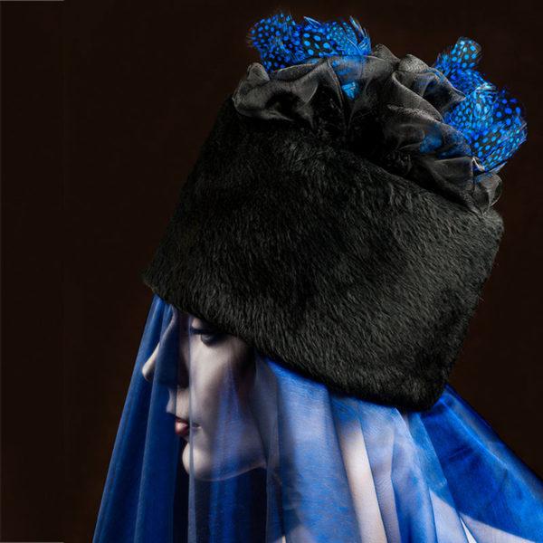 Agnes van Dijk fasionart, modekunst, Hat, black and blue, Eindhoven the netherlands, nederland