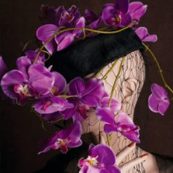 Agnes van Dijk fasionart, modekunst, headpiece paarse orchidee - purple orchid, Eindhoven the netherlands, nederland